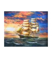 Вышивка крестом. 30*40см. Корабль на закате XD1834  (полн. зап. канва без рис. )