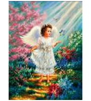 Вышивка крестом. 40*50см. Милый ангелок XA1925  (полн. зап. канва с рис. )