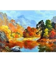 Набор для росписи по номерам. Осенний пейзаж  (холст 22*30см, краски, кисти)