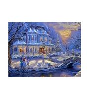 Набор для росписи по номерам. Новогодний пейзаж и дети  (холст 40*50см, краски, кисти)