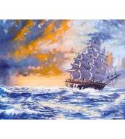 Холст 40*50см Корабль в шторм д/росп. п/номерам