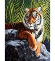 Набор для росписи по номерам. Тигр в тени джунглей  (холст 40*50см, краски, кисти)