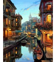 Холст 40*50см Венецианский канал с гондолами д/росп. п/номерам
