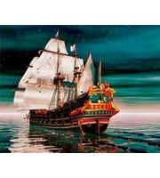 Холст 40*50см Красивый корабль в ночи д/росп. п/номерам