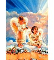 Холст 40*50см Милые ангелочки в облаках д/росп. п/номерам