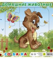 Домашние животные.  Собака.  Пазл для малышей на подложке (20х20 см,  9 эл. )