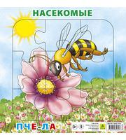 Насекомые.  Пчела.  Пазл для малышей на подложке (20х20 см,  9 эл. )