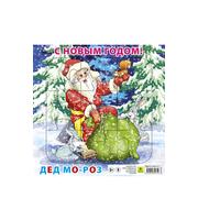 С Новым годом! Дед Мороз.  Пазл для малышей на подложке (20х20 см,  9 эл. )